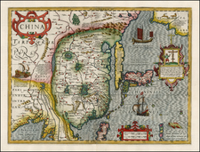 Alaska, China, Japan and Korea Map By Jodocus Hondius
