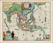 China, India and Southeast Asia Map By Willem Janszoon Blaeu