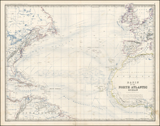 Atlantic Ocean Map By W. & A.K. Johnston