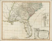Mid-Atlantic, Florida, South and Southeast Map By Richard Holmes Laurie  &  James Whittle