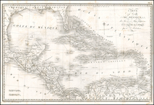 South, Southeast, Texas, Mexico, Caribbean and Central America Map By Pierre Antoine Tardieu