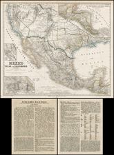 Texas, Plains, Southwest, Rocky Mountains, Mexico, Baja California, Central America and California Map By Heinrich Kiepert