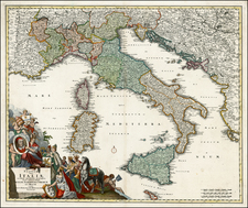 Italy, Mediterranean and Balearic Islands Map By Johann Baptist Homann