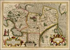 Alaska, China, Korea, Central Asia & Caucasus and Russia in Asia Map By Jodocus Hondius