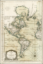 South America and America Map By Jacques Nicolas Bellin
