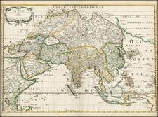 North America, Asia, Korea and California Map By Nicolas Sanson