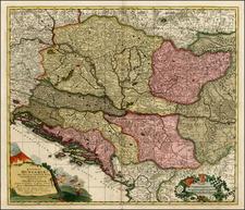 Hungary, Balkans, Croatia & Slovenia, Bosnia & Herzegovina and Albania, Kosovo, Macedonia Map By Peter Schenk