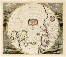 Northern Hemisphere, Polar Maps, Atlantic Ocean and Canada Map By Frederick De Wit