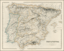 Spain and Portugal Map By Archibald Fullarton & Co.