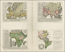World, South America, Europe, Europe, Asia, Asia, Africa, Africa, America and Curiosities Map By Homann Heirs / Gottfried Hensel