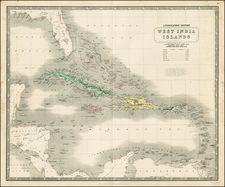 Southeast and Caribbean Map By W. & A.K. Johnston