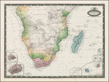 South Africa and African Islands, including Madagascar Map By F.A. Garnier