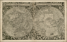 World, Northern Hemisphere and Southern Hemisphere Map By Cornelis de Jode