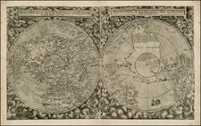 World, Northern Hemisphere and Southern Hemisphere Map By Cornelis de Jode