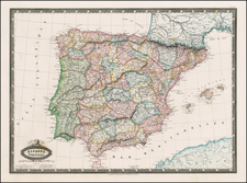 Spain and Portugal Map By F.A. Garnier