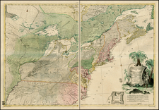 United States, Mid-Atlantic, South, Southeast, Midwest and North America Map By Johann Christoph Rhode