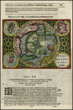 Northern Hemisphere, Polar Maps and Alaska Map By Henricus Hondius / Samuel Purchas