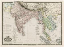China, India, Southeast Asia and Central Asia & Caucasus Map By F.A. Garnier