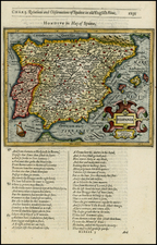 Spain and Portugal Map By Jodocus Hondius / Samuel Purchas
