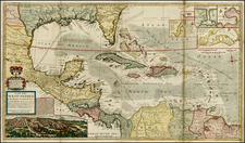 South, Southeast, Texas, Caribbean and Central America Map By Hermann Moll