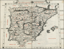Spain and Portugal Map By Bernardus Sylvanus