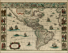 North America, South America and America Map By Willem Janszoon Blaeu