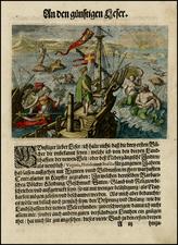 Atlantic Ocean and Caribbean Map By Theodor De Bry