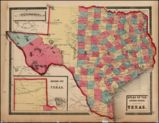 Texas Map By Henry Francis Walling  &  OW Gray