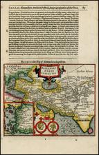 Mediterranean, India, Central Asia & Caucasus, Middle East and Turkey & Asia Minor Map By Jodocus Hondius / Samuel Purchas