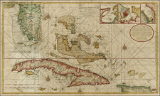Florida, Southeast and Caribbean Map By Gerard Van Keulen