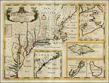 Atlantic Ocean, New England, Mid-Atlantic and Caribbean Map By Edward Wells