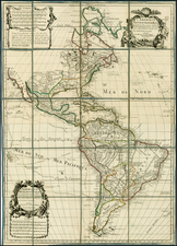 North America and South America Map By Guillaume De L'Isle