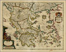 Balkans, Greece and Balearic Islands Map By Johannes et Cornelis Blaeu