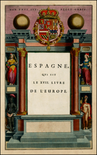 Spain, Title Pages and Curiosities Map By Willem Janszoon Blaeu