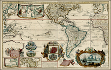 World, World, Atlantic Ocean, North America, South America, Pacific, Australia, Oceania and New Zealand Map By Hendrick De Leth
