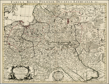 Poland, Russia and Baltic Countries Map By Johannes Covens  &  Pieter Mortier