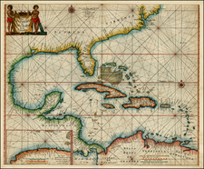 Florida, Southeast, Mexico and Caribbean Map By Pieter Goos