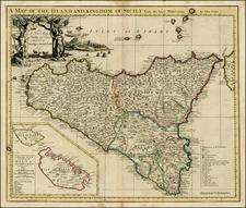 Italy, Balearic Islands, Malta and Sicily Map By John Senex