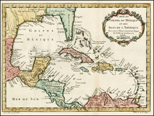 Southeast, Caribbean and Central America Map By Jacques Nicolas Bellin