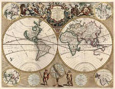 World, World and Curiosities Map By John Senex
