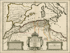 Spain, Mediterranean and North Africa Map By Philippe Buache