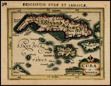 Caribbean and Cuba Map By Petrus Bertius