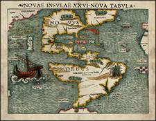 World, Western Hemisphere, South America and America Map By Sebastian Munster