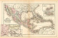 Southwest, Mexico and Caribbean Map By William Bradley