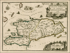 Caribbean and Hispaniola Map By Nicolas de Fer / Guillaume Danet