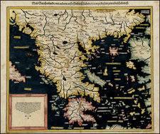 Greece, Turkey, Mediterranean and Balearic Islands Map By Sebastian Münster