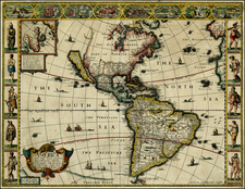 South America and America Map By John Speed
