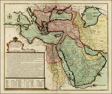 Balkans, Turkey, Mediterranean, Central Asia & Caucasus, Turkey & Asia Minor, Egypt and Greece Map By Nicolas de Fer / Guillaume Danet