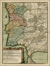 Spain and Portugal Map By Nicolas de Fer / Louis Charles Desnos