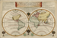 World, World and California Map By Nicolas de Fer / Louis Charles Desnos